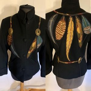 Coloratura wool embellished concho & feather coat